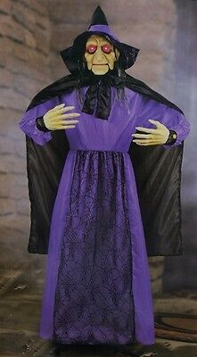 HALLOWEEN LIFE SIZE HAUNTED HOUSE ANIMATED TALKING WICKED WITCH FIGURE PROP 6 FT (Life Size Animated Halloween Figures)
