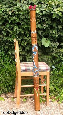 "47""120cm Aboriginal DIDGERIDOO Hand-Carved & Dot-Painted Kangaroo +Bag +BeesWax"