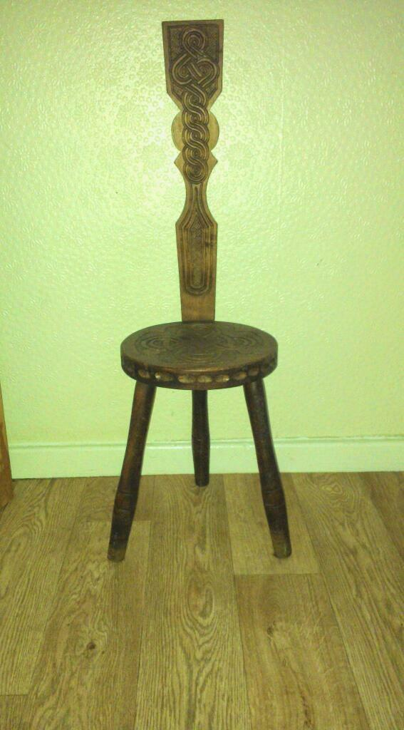 Vintage 'Ben Setter' of Totnes three legged oak spinning chair - Vintage 'Ben Setter' Of Totnes Three Legged Oak Spinning Chair In