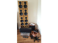 COMPLETE 7.1 Surround Sound System SONY AV Receiver + ELTAX Speakers +KEF SubWoofer + Accessories ++