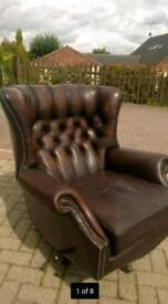 RARE SWIVEL CHESTERFIELD ARMCHAIR WING BACK BROWN LEATHER VINTAGE STUNNING