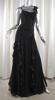 GIANNI VERSACE COUTURE Womens Black Chiffon Beaded Formal Gown Dress 42/8
