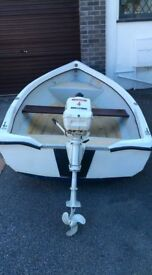 10 ft dinghy with Johnson 4hp outboard engine