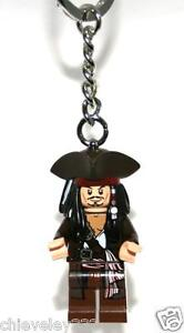 Lego Pirates of the Caribbean Captain Jack Sparrow Key Ring/Chain New