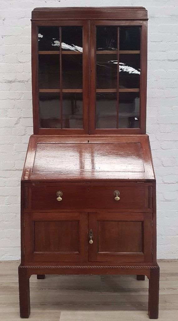 Antique Mahogany Writing Bureau With Bookcase (DELIVERY AVAILABLE FOR THIS ITEM OF FURNITURE)