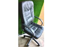 BLACK LEATHER OFFICE SWIVEL CHAIR - WORKS PERFECTLY - £15 ONO QUICK SALE
