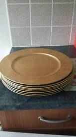 gold charger plates x8