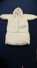 Baby boy knitted sleep bag / pram cocoon with sleeves