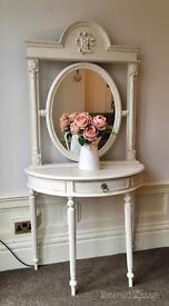 Hand Painted Console table with mirror
