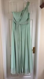 Elegant sage chiffon long dress, one shoulder