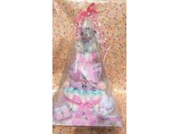 Girl's pink baby 3 tier nappy cake perfect for baby showers or as a baby gift