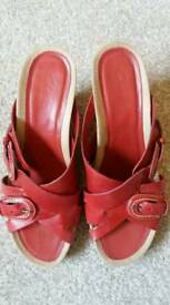 Leather red sandals