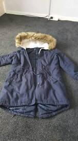 Size 12 navy parka coat