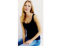 Ladies Faded Black Distressed Ribbed Tank Vest Cami Summer Top.Size 22.