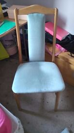 beech wood and light blue fabric chairs