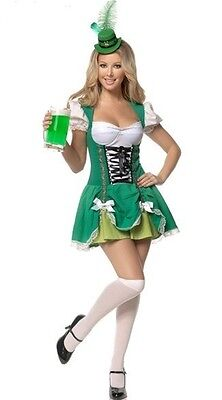Ladies irish beer maid fancy dress costume size 10-12,12,14 includes hat