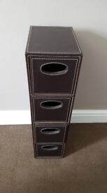 4 Drawer Faux Leather Storage Tower