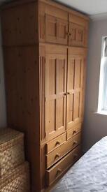 Solid hard oak wardrobe - £150