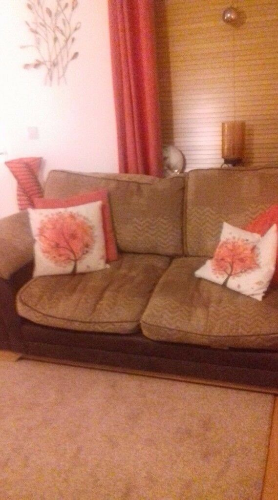 Large sofa, fabric and faux leather.