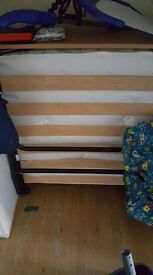 Fold up single bed with mattress topper