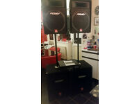 a set of peavey pa / dj speakers with amp