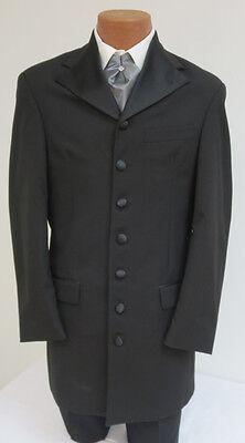 40R Black Avanti Frock Coat 7 Button Long Western Tux Jacket Mardi Gras Costume - Tux Coat