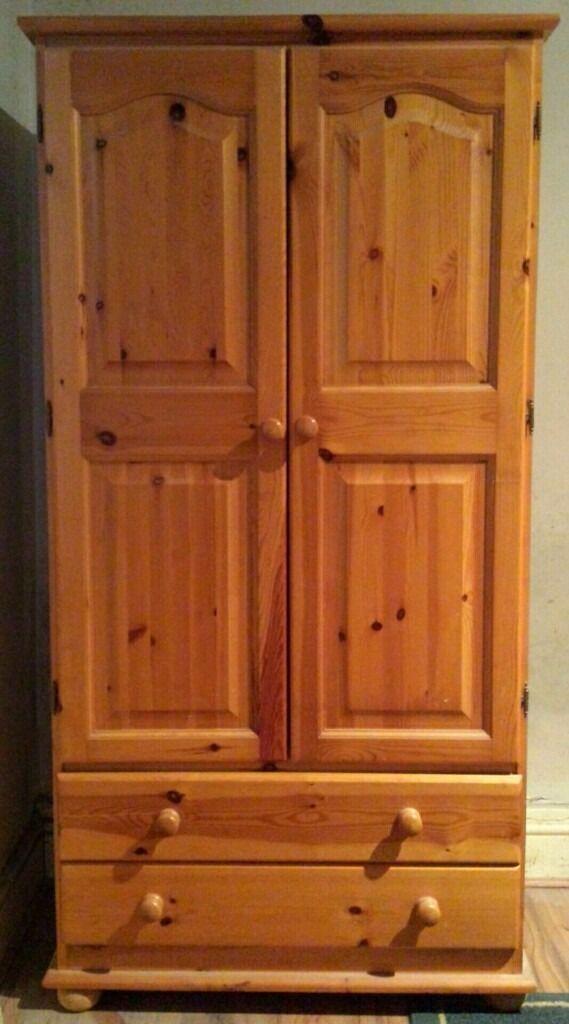 Pine Wardrobe - 2 Doors & 2 Draws