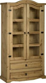 New FULLY BUILT Solid Cheap Corona Mexican Pine Display cabinet 2 door 2 drawer £199 LAST ONE