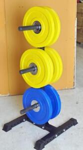 OPPORTUNITY DEAL, NEW 130kg (286lb) BUMPER PLATE SET WITH PLATE STORAGE RACK