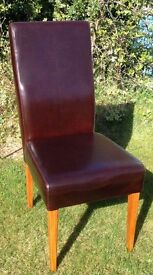 Dining chairs, 5 off, Dark 'tobacco' faux leather quality upholstery all in very good condition