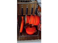 Le Creuset cast iron pans with stand rrp £600.00