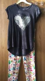 Lovely Blue Sequin T-Shirt And Leggings Age 10