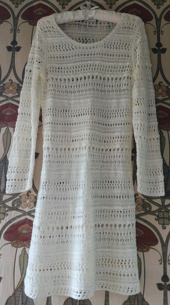 BOHO CREAM CROCHET KNITTED JUMPER DRESS Slouch Knitwear Tunic Long Sleeve Round Neck Acrylic H&M S/M