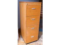 Wooden 4-drawer filing cabinet - lockable
