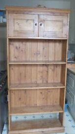 Tall Vintage Solid Pine Unit with Cupboard and Shelves - £60