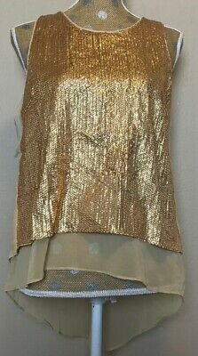 Womens NWT Esley sleeveless layered Sequence blouse top Gold Medium - Gold Sequence Top