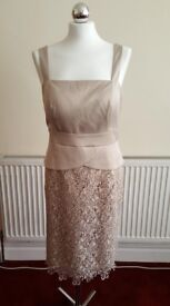 Brand new, elegant satin and lace evening dress. Size 14.