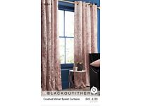Next pink crushed velvet curtains