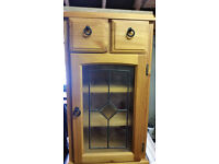 Pine Stereo Unit With Glass door.