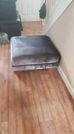 Grey velvet foot stool