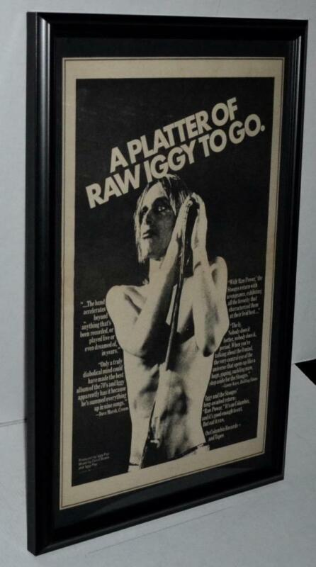 IGGY POP THE STOOGES 1973 RAW POWER BOWIE PRODUCED FRAMED PROMOTIONAL POSTER /AD