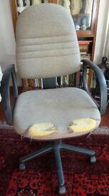 FREE TO COLLECTOR: Swivel chair in need of an upholstery repair