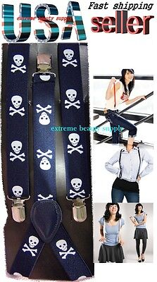 lady girl woman clip on halloween suspenders navy blue skull