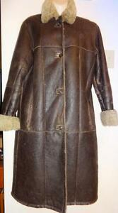 "MINT Womens LONG SHEEPSKIN SHEARLING COAT Via Firenze 10 12  $1200 REAL WARM 38""B / Dark Brown Leather outer Wooly inner"