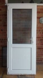 White UPVC Double glazed back door glass top and panel bottom, obscure glass VGC 2025mm by 840mm