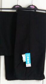 New Boys Black 2 pair school trousers, 13-14 years