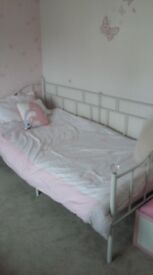 Two white metal day beds for sale - only 5 months old.