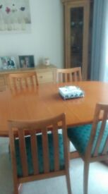 G Plan Dinning Table & 4 Chairs green seats