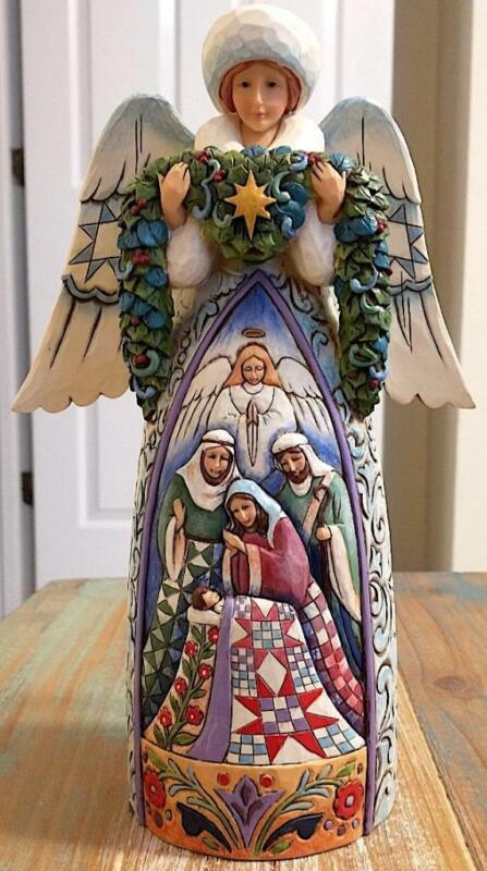 Jim Shore Winter Angel w/Nativity Scene Figurine 2009 Night Divine Hand Made NIB