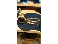 Gold plated rings braclet and watch